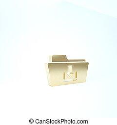 pictogram, render, achtergrond., 3d, map, illustratie, goud, vrijstaand, witte , downloaden