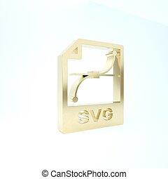 pictogram, render, achtergrond., bestand, symbool., knoop, 3d, svg, illustratie, document., goud, vrijstaand, witte , downloaden