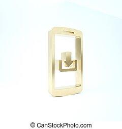 pictogram, render, achtergrond., smartphone, 3d, illustratie, goud, vrijstaand, witte , downloaden