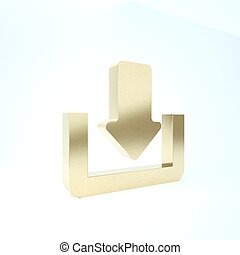 pictogram, render, richtingwijzer, achtergrond., symbool., lading, button., goud, 3d, illustratie, vrijstaand, uploaden, omlaag., witte , punt, downloaden