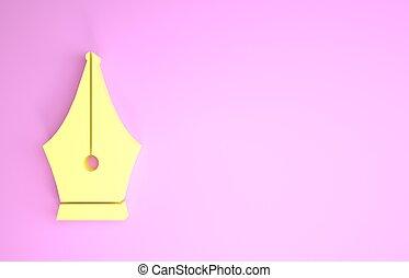 pictogram, render, teken., vrijstaand, minimalism, vulpen, gele, illustratie, concept., achtergrond., nib, roze, werktuig, 3d