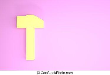 pictogram, render, vrijstaand, minimalism, repair., hamer, gele, illustratie, concept., achtergrond., roze, werktuig, 3d