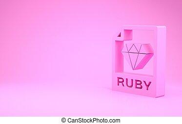 pictogram, roze, illustratie, render, knoop, downloaden, document., 3d, vrijstaand, minimalism, achtergrond., robijn, symbool., bestand, concept.