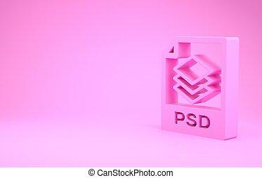 pictogram, roze, illustratie, render, knoop, downloaden, document., 3d, vrijstaand, minimalism, achtergrond., psd, symbool., bestand, concept.