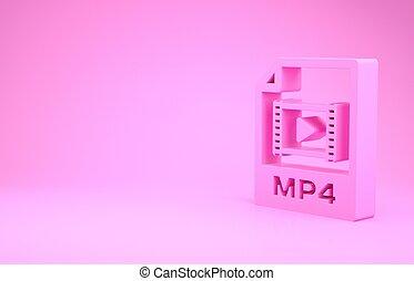 pictogram, roze, illustratie, render, knoop, downloaden, document., 3d, vrijstaand, minimalism, achtergrond., mp4, symbool., bestand, concept.