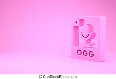 pictogram, roze, illustratie, render, knoop, downloaden, document., 3d, vrijstaand, minimalism, achtergrond., ogg, symbool., bestand, concept.