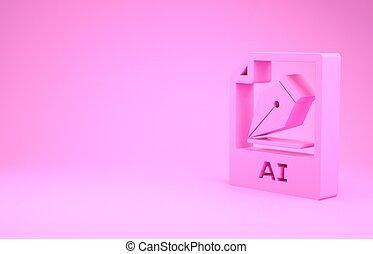 pictogram, roze, illustratie, render, knoop, downloaden, document., 3d, vrijstaand, minimalism, achtergrond., ai, symbool., bestand, concept.