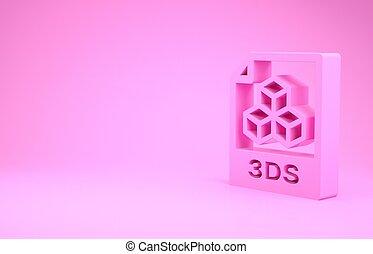 pictogram, roze, illustratie, render, knoop, downloaden, document., 3ds, vrijstaand, minimalism, achtergrond., 3d, symbool., bestand, concept.