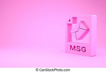 pictogram, roze, illustratie, render, knoop, msg, downloaden, document., 3d, vrijstaand, minimalism, achtergrond., symbool., bestand, concept.