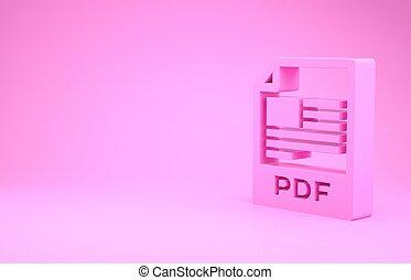 pictogram, roze, illustratie, render, knoop, pdf, downloaden, document., 3d, vrijstaand, minimalism, achtergrond., symbool., bestand, concept.