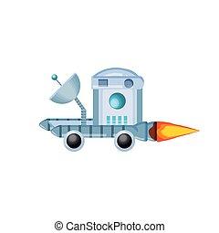 pictogram, ruimte, ontdekkingsreiziger, voertuig