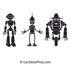 pictogram, sätta, robotic, tecken
