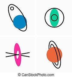 pictogram, schets, monteurs, planeet, hemels, plat, banen