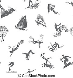 pictogram, seamless, extreme sporten
