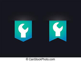 pictogram, set, aap, lint, moersleutel