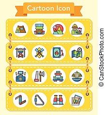 pictogram, set, avontuur, vector
