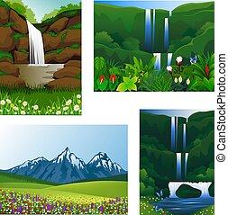 pictogram, set, frame, mooi, landschap