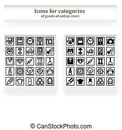 pictogram, set, gedeeltes, winkel, online