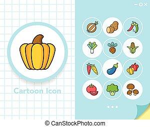 pictogram, set, groente, vector
