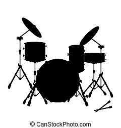 pictogram, set, instrument, trommel, black , muzikalisch, silhouette