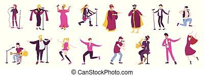 pictogram, set, plat, karakter, zinger