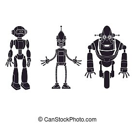 pictogram, set, robotic, carattere