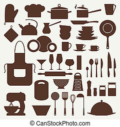 pictogram, set, utensils., keuken, restaurant