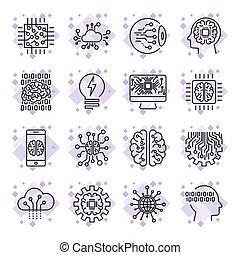 pictogram, set, voor, kunstmatige intelligentie, ai, concept, gevarieerd, symbolen, voor, de, topic, gebruik, plat, design., editable, stroke.