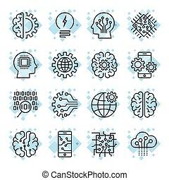 pictogram, set, voor, kunstmatige intelligentie, ai, concept, gevarieerd, symbols., voor, web, plaatzen, beweeglijk, toepassingen, en, andere., techno, online, ontwerp, zakelijk, gui, ui., editable, slag