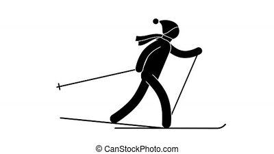 Pictogram skier man in hat with pompon and scarf skiing....