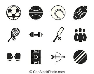 pictogram sport equipment related icons set