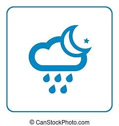 pictogram, ster, wolk, regen, maan