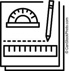 pictogram, stijl, aantekenboekje, schets, huiswerk