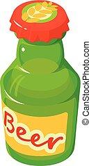 pictogram, stijl, bier, isometric, fles