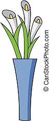 pictogram, stijl, bloemen, spotprent, vaas