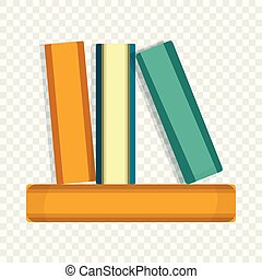 pictogram, stijl, boekjes , spotprent, stapel