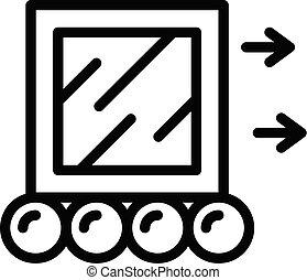 pictogram, stijl, kubus, verhuizing, schets