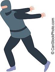 pictogram, stijl, ninja, sprong, isometric