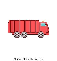 pictogram, stijl, vrachtwagen, spotprent, restafval