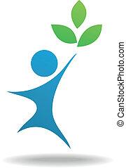 pictogram, symbool, mensen, blad, natuur