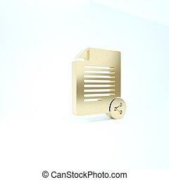 pictogram, teken., render, achtergrond., bestand, aandeel, overdracht, 3d, sharing., illustratie, goud, vrijstaand, witte