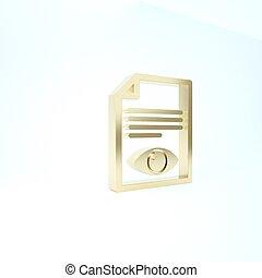 pictogram, teken., render, oog, achtergrond., open, symbool, pagina, papier, informatie, 3d, illustratie, vrijstaand, goud, bestand, witte