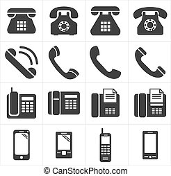 pictogram, telefoon, classieke, om te, smartphon