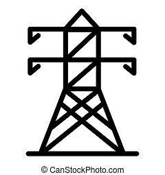 pictogram, toren, schets, stijl, elektrisch