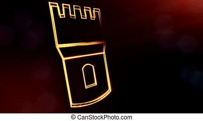 pictogram, van, bank., achtergrond, gemaakt, van, gloed, partikels, als, vitrtual, hologram.., 3d, seamless, animatie, met, diepte van gebied, bokeh, en, kopie, space., donkere achtergrond, v1
