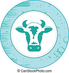 pictogram, van, een, koe