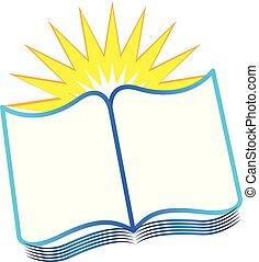 pictogram, vector, boek, leren, lezende