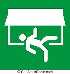 pictogram, vector, evacuatie, man, veiligheid, helpen, teken., symbool., deur, ontsnapping, rennende , afslaf