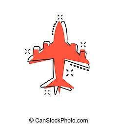 pictogram., vector, zakelijk, concept., effect, schaaf, meldingsbord, luchthaven, gespetter, illustratie, komisch, style., spotprent, vliegtuig, pictogram