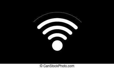 pictogram, verbinding, om te, wifi, punt, met, een, het veranderen, niveau, van, signaal